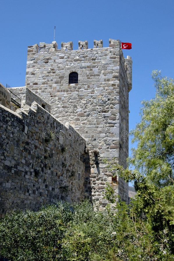 Bodrum castle. Main tower of Bodrum castle, dates back to the Crusades royalty free stock photo
