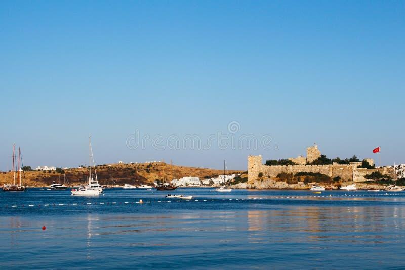 Bodrum castle and Aegean sea in Turkey. Bodrum castle and Aegean sea in Bodrum, Turkey stock images