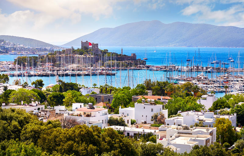 Bodrum castle and Aegean Sea. View of Bodrum castle and Marina Harbor in Aegean sea in Turkey stock photography