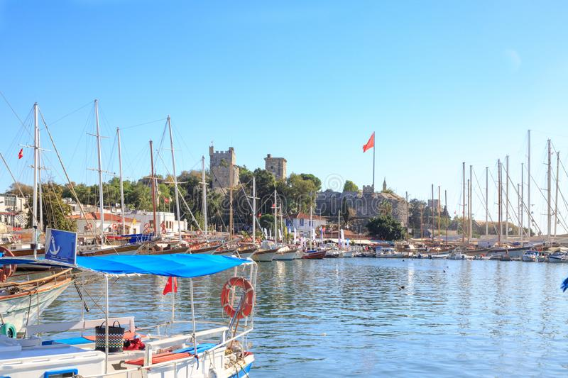 Bodrum castle from harbor of Bodrum. Turkey royalty free stock photography