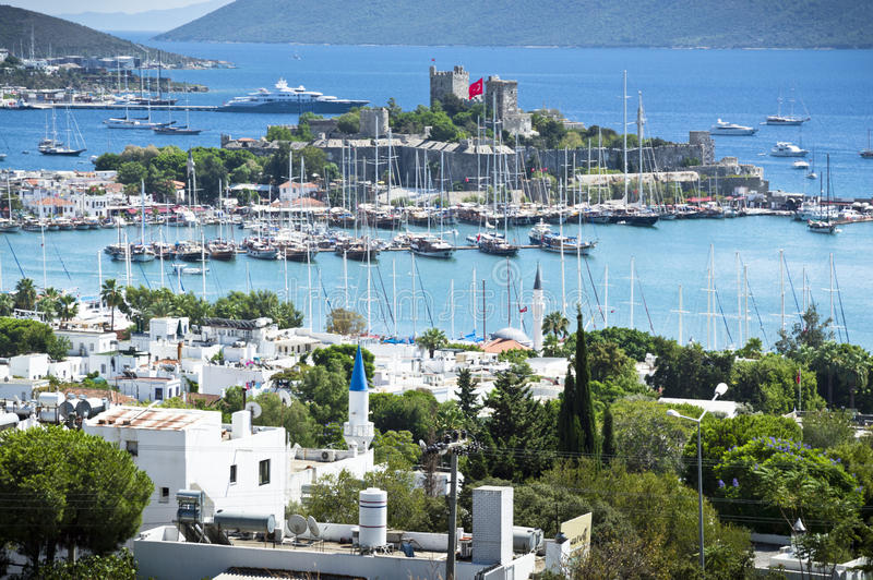 Bodrum Castle and Harbour. Landscaped image royalty free stock photography