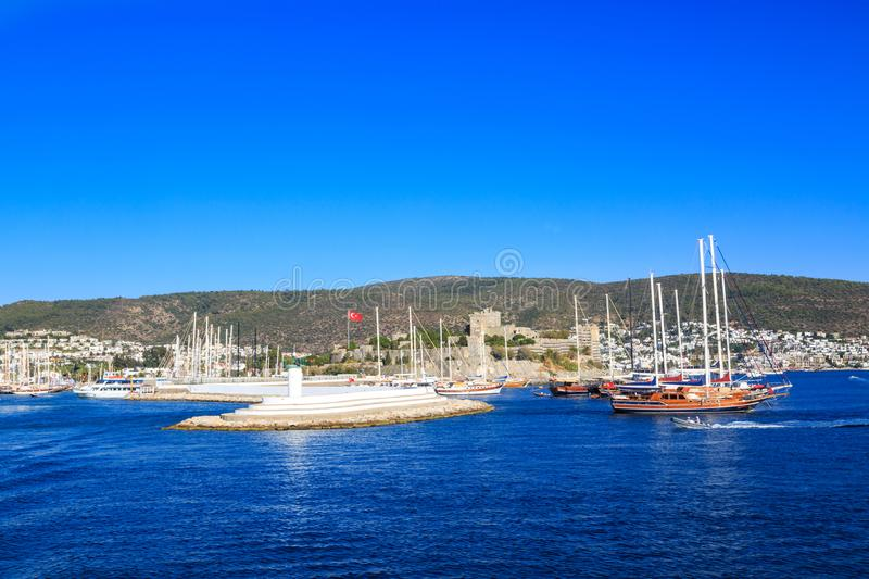 Bodrum castle and lighthouse in bodrum. Turkey stock photos
