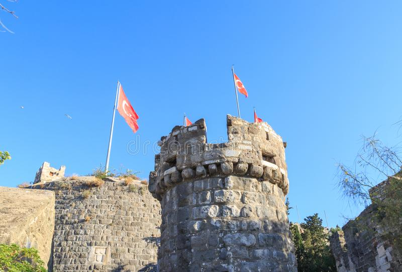 Bodrum castle from sea with boats in Bodrum. Turkey royalty free stock image