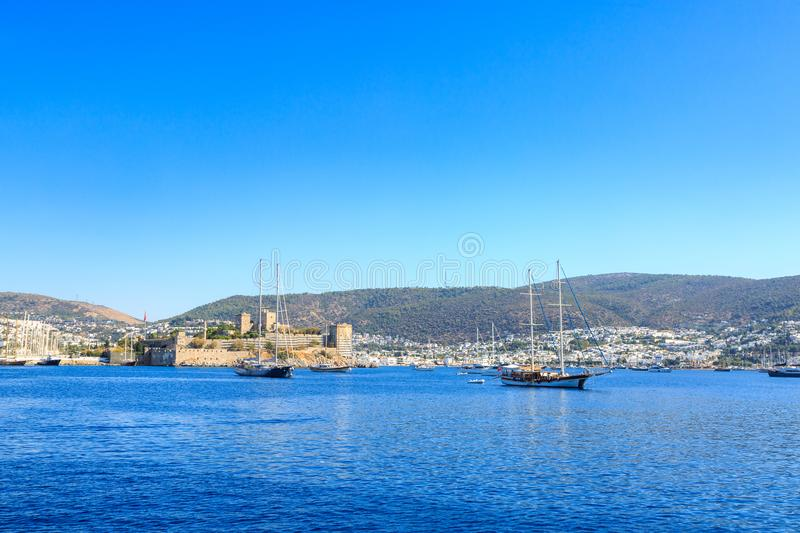 Bodrum castle from sea with boats in Bodrum. Turkey stock image