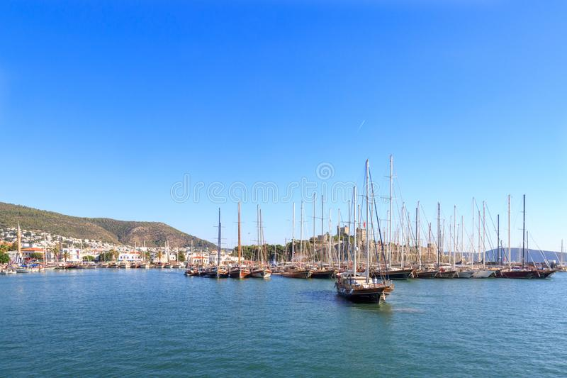 Bodrum castle from sea in Bodrum. Turkey royalty free stock photo