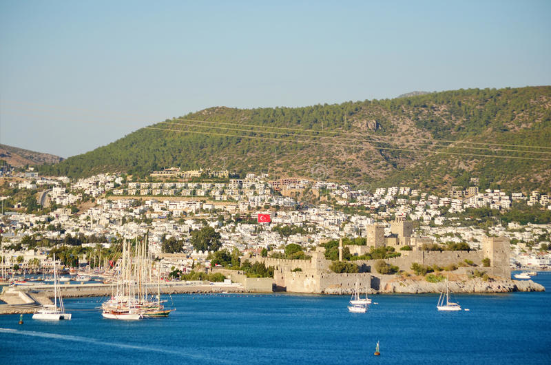 Bodrum Castle. From the sea , Eastern Turkey. Aegean sea royalty free stock image