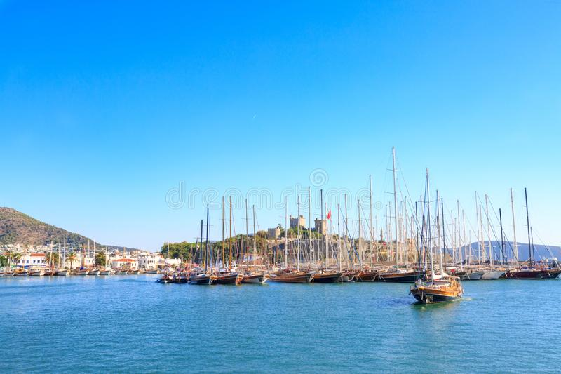 Bodrum castle from sea in Bodrum. Turkey royalty free stock photos