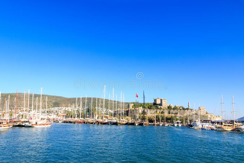 Bodrum castle from sea in Bodrum. Turkey royalty free stock photography