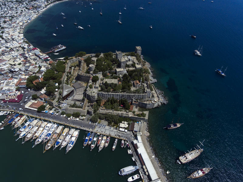 Bodrum Castle,Turkey. Bodrum Castle along waterfront of marina in Bodrum, Turkey royalty free stock photography