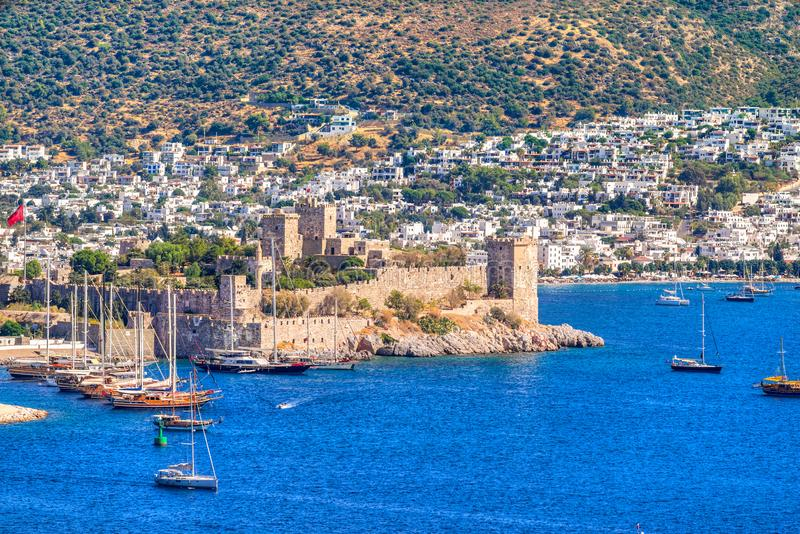 Bodrum Castle, Turkey. View of Bodrum Castle and Marina, Turkey stock photography