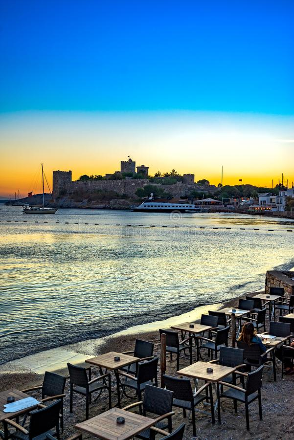 Bodrum Castle, Turkey. View of Bodrum Castle at sunset, Turkey royalty free stock images