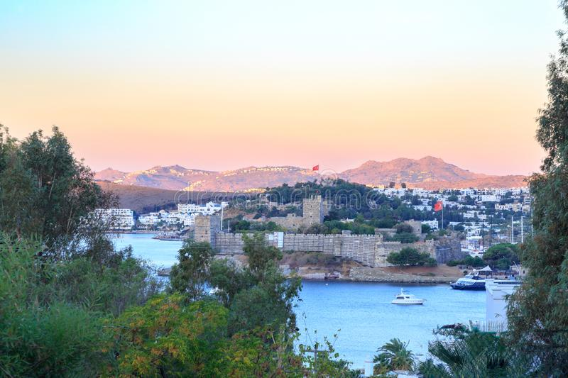 Bodrum castle view from hills of Bodrum. Turkey royalty free stock image