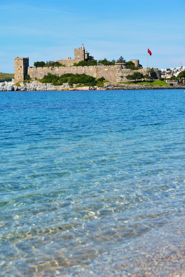 Bodrum castle. View to Bodrum castle, Turkey. Built in XV century, now the castle housed the Museum of Underground Archeology royalty free stock images