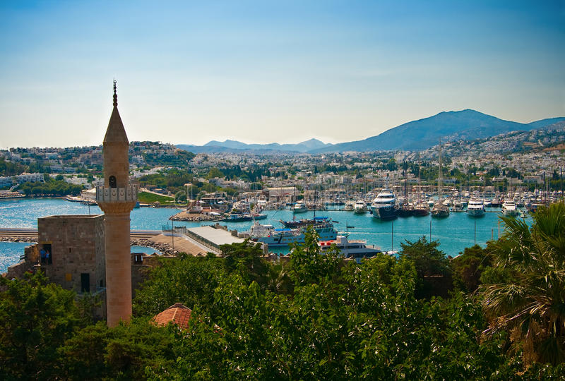 Bodrum City. View of the city Bodrum in Turkey, on the Aegean sea stock image