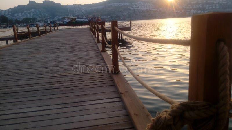 Bodrum hav, hav, lopp, solnedgång, förälskelse, ferie, sol arkivfoto