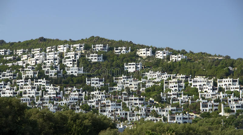 Bodrum Houses. White Bodrum houses at the hill. (Turkey royalty free stock photography