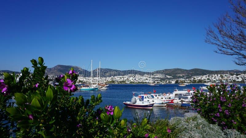 Bodrum, Mugla Turquia Vista de uma baía e do porto Barcos de pesca, iate e gulets tradicionais pequenos A montanha imagens de stock royalty free