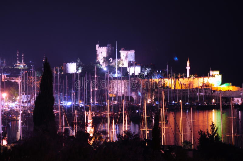 Bodrum Night. Bodrum Castle, vision from port, Turkey royalty free stock photo