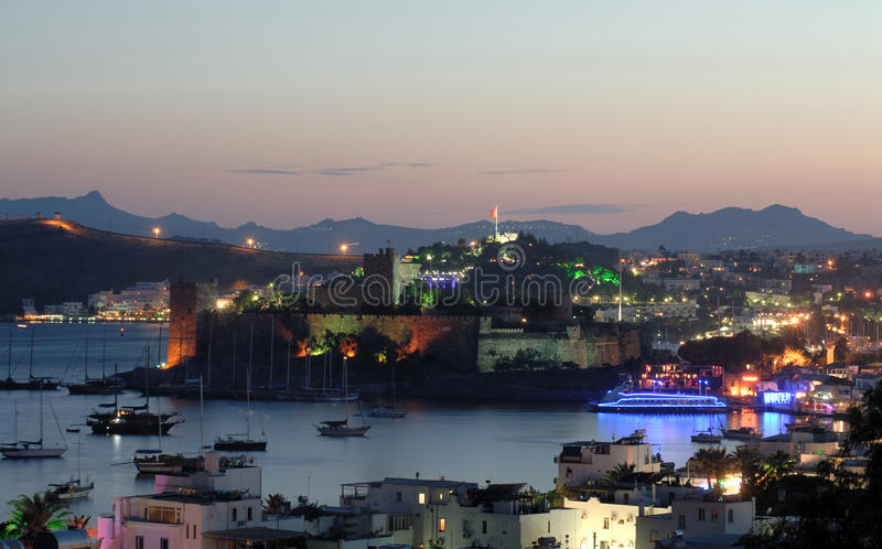Bodrum at night. Bodrum castle and harbour at night stock photography