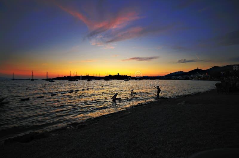 Bodrum sunset stock photos