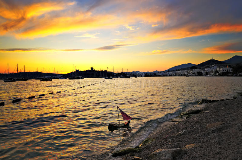 Bodrum sunset. Sunset at the bodrum harbour stock photo