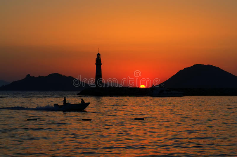 Bodrum sunset. Sunset at the bodrum harbour royalty free stock images
