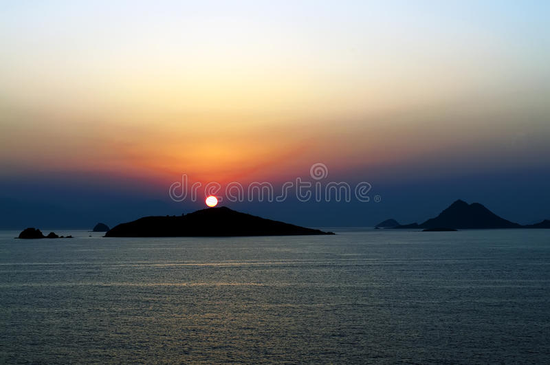 Bodrum sunset. Sunset at the bodrum harbour royalty free stock photo