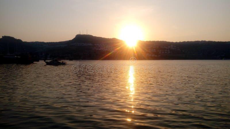 Bodrum, tramonto, festa, sole, tacchino, mare, oceano immagini stock libere da diritti