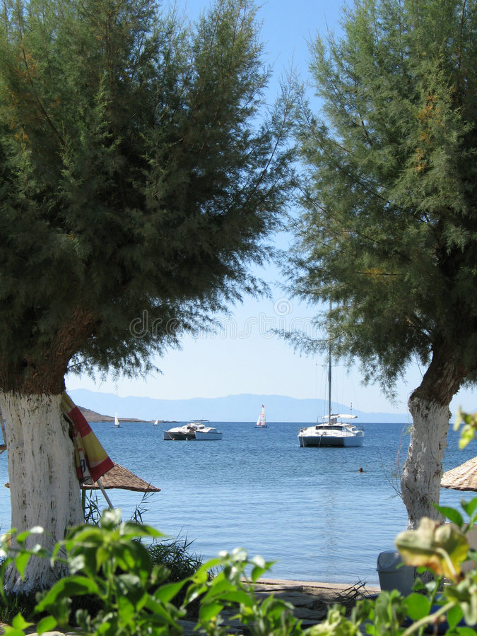 Bodrum, Turkey. A view form sea shore at Ortakent, Bodrum, Turkey stock image