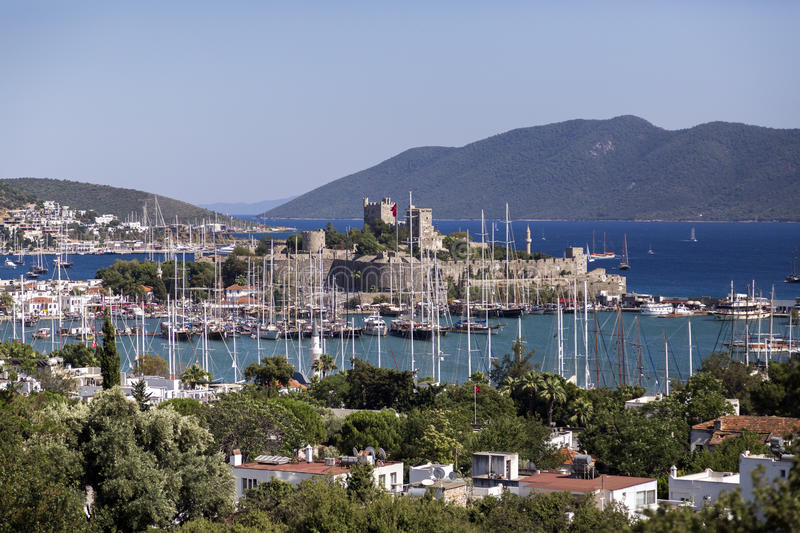 Bodrum, Turkey. April 21, 2016: View from the coast town of Bodrum, whitewashed architecture in Turkey`s popular summer resort town located by the Aegean sea stock photos