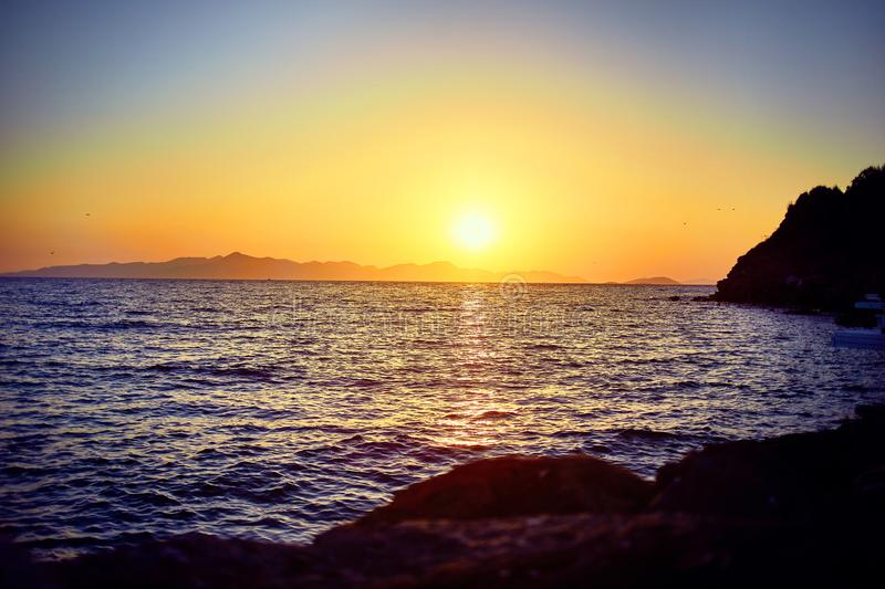 Bodrum, Turkey: Beautiful seascape at sunset over the sea with blue and pink pastel colors. Vacation Outdoors Seascape Summer royalty free stock photo