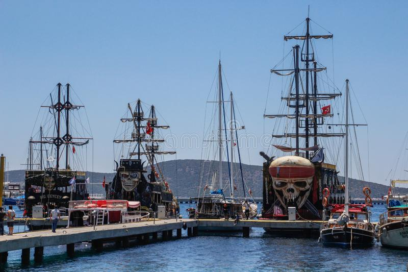 Huge sailing tourist ships. Pirate Ship - Flying Dutchman stock images