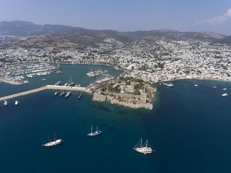 Bodrum, Turkey marina and castle. Aerial view of Bodrum, Turkey marina and castle on sunny day royalty free stock photography