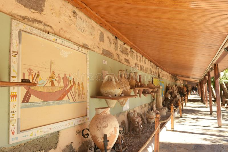 Bodrum, Turkey - 5 September 2017: Amphoras in Bodrum Castle stock photography