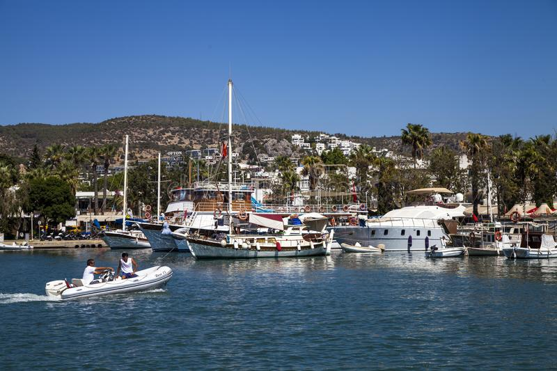 Bodrum marina. Bodrum, Turkey - September 18, 2018; Bodrum marina view. Mugla, Turkey. Bodrus is a very famous touristic place in Turkey royalty free stock image