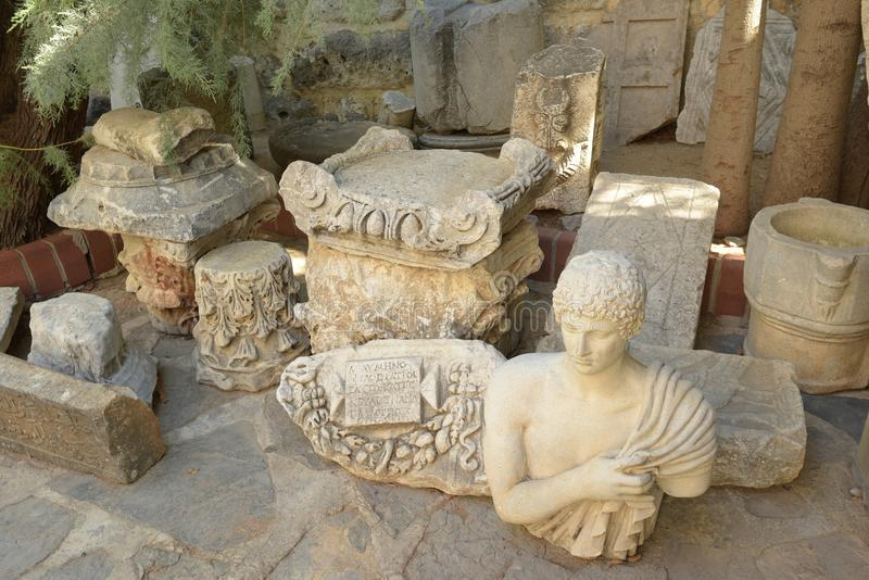 Bodrum, Turkey - 5 September 2017: Roman marble sculpture and antique decorative architectural elements royalty free stock images