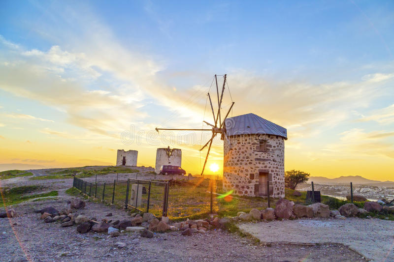 Bodrum, Turkey. Sunset view of Bodrum town located on the Aegean coatline of Turkey, famous for summer attractions, windmills and nightlife. Turkish Riviera royalty free stock photos