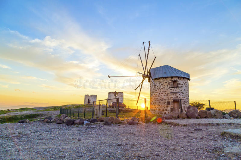 Bodrum, Turkey. Sunset view of Bodrum town located on the Aegean coatline of Turkey, famous for summer attractions, windmills and nightlife. Turkish Riviera royalty free stock image