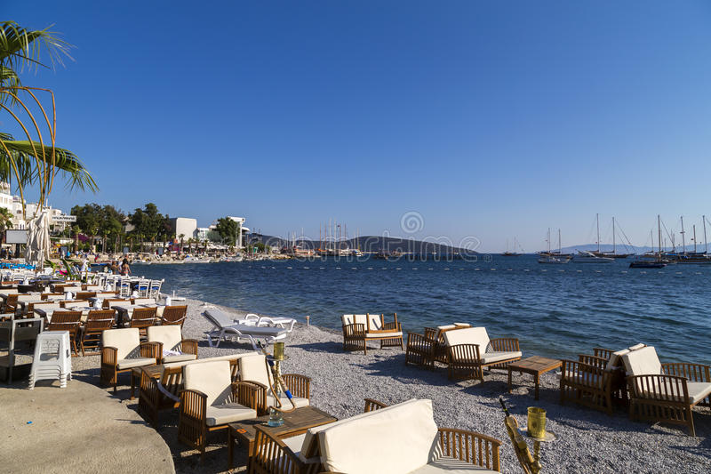 Bodrum, Turkey. View from the coast town of Bodrum, whitewashed architecture in Turkey`s popular summer resort town located by the Aegean sea, Turkish Riviera royalty free stock photos