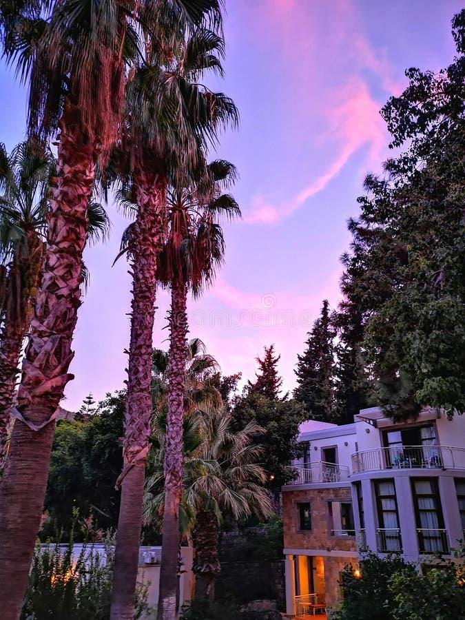 Bodrum, Turquía, puesta del sol, cielo hermoso, magia, hotel imagenes de archivo