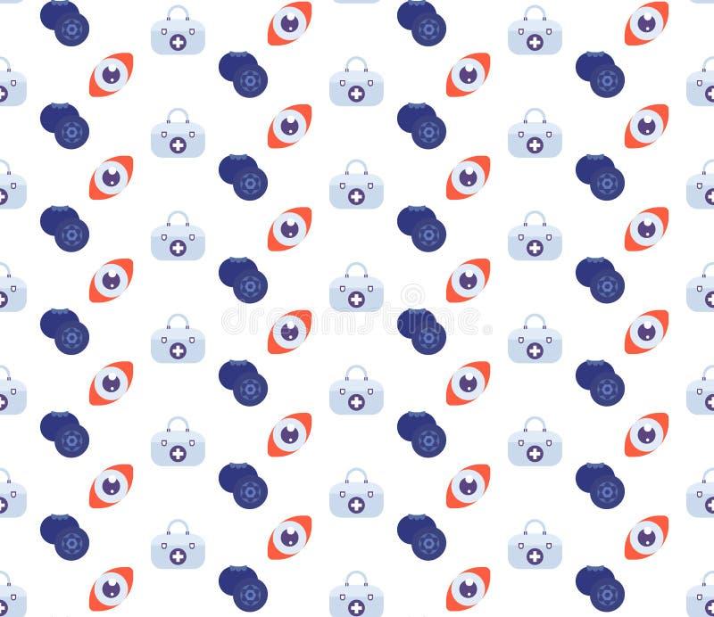 Body anatomy human eye blueberries vitamins kit first aid icon healthcare medical service logo medicine symbol concept. Seamless pattern flat vector stock illustration