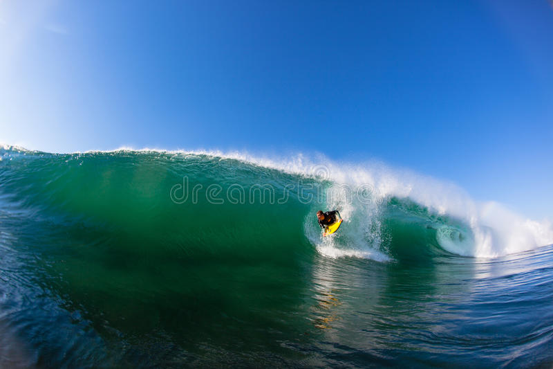Body Boarder Drop Hollow Wave royalty free stock photography