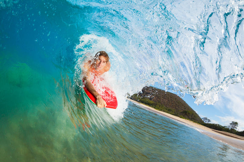 Body Boarder Surfing Blue Ocean Wave royalty free stock photos