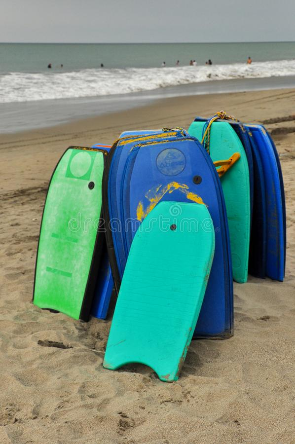 Body boards on the sand stock photos