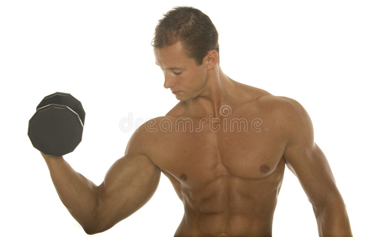 Body builder arm workout stock image