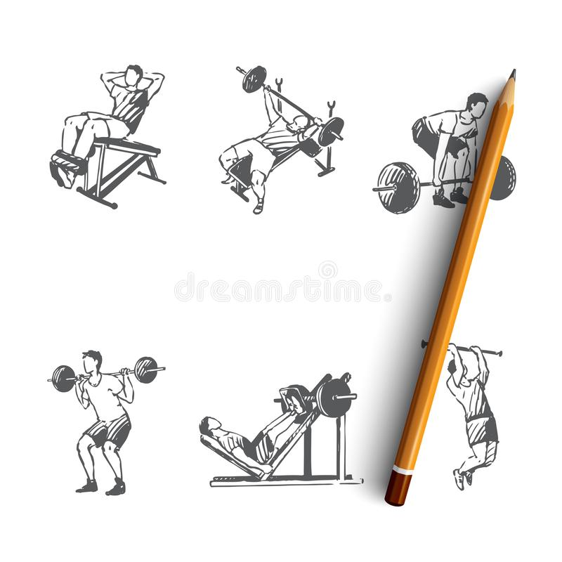 Body building - man making exercises with barbell in gym vector concept set. Hand drawn sketch isolated illustration stock illustration
