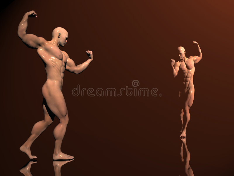 Body Building, Shadow Play Royalty Free Stock Image