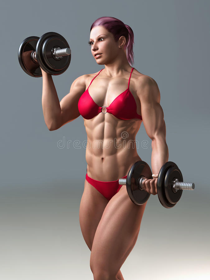 Body building woman royalty free stock image