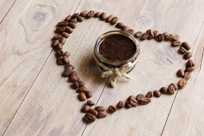 Homemade coffee scrub with love royalty free stock images