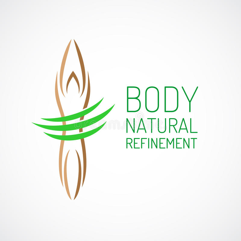 Body care logo template. Eco green lines with healthy body silhouette vector illustration